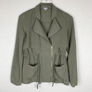 Guess Moto-Style Zip-Up Army Military Jacket XS